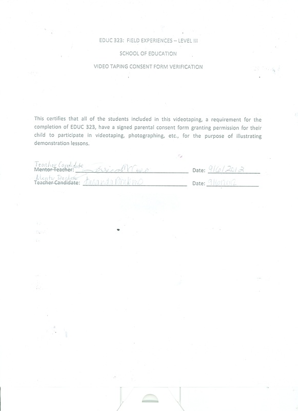 Videotaping Consent Form - Instructional Strategies Dossier